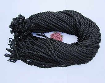 Silk necklace cord--20pcs 18-20 inch 3mm black twist necklace cord with loop and knot