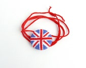 Union Jack bracelet - cross stitch flag
