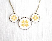 Cross stitch necklace with three yellow ethnic ornament in bronze - n009yellow