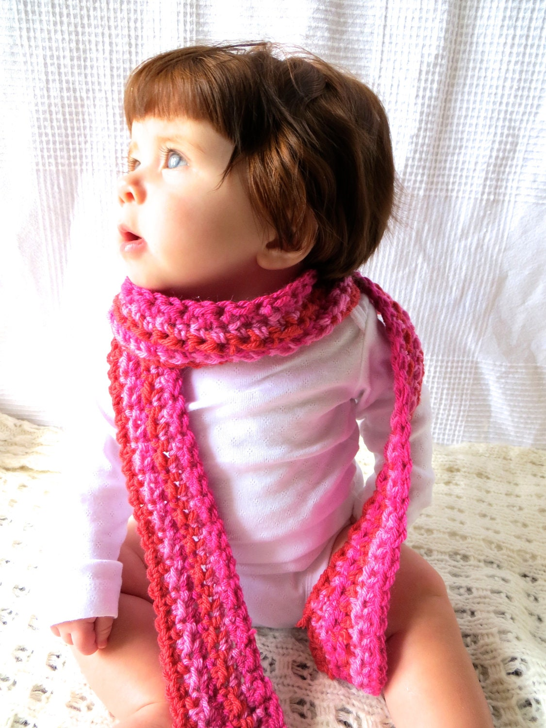 Baby Scarves  Scarves For Children  Pink Crochet Baby Girl Scarf Crochet Animal Scarves For Kids
