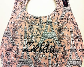 Monogrammed Baby Bib - Parisian Pink - Personalized Bib - Embroidered Bib - Paris Eiffel Tower - Baby Shower Gift - Personalized Baby Gift
