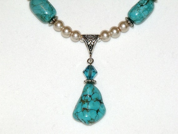 Custom Bead Necklace and Earrings - Turquoise Nuggets, Crystals and Pearls OOAK