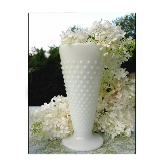 Vintage Hobnail Milk Glass Vase