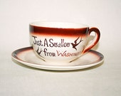 Big Vintage Cup and Saucer Just A Swallow From Washington Restaurant Style