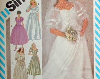 Vintage Wedding Bridesmaid Dress Sewing Pattern Two Lengths 1980s Simplicity 6241 Size 8 Bust 31.5 or 80 cm Cut and Ironed Pieces