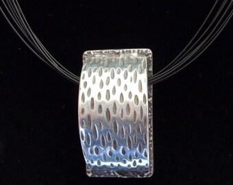 Minimalist Jewelry - PMC - Fine Silver Hollow Bead Pendant - OOAK