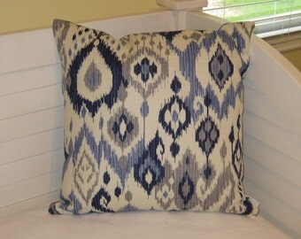 Blue, Navy and Gray Ikat Design Pillow Cover - Square, Lumbar and Body Pillow Cover