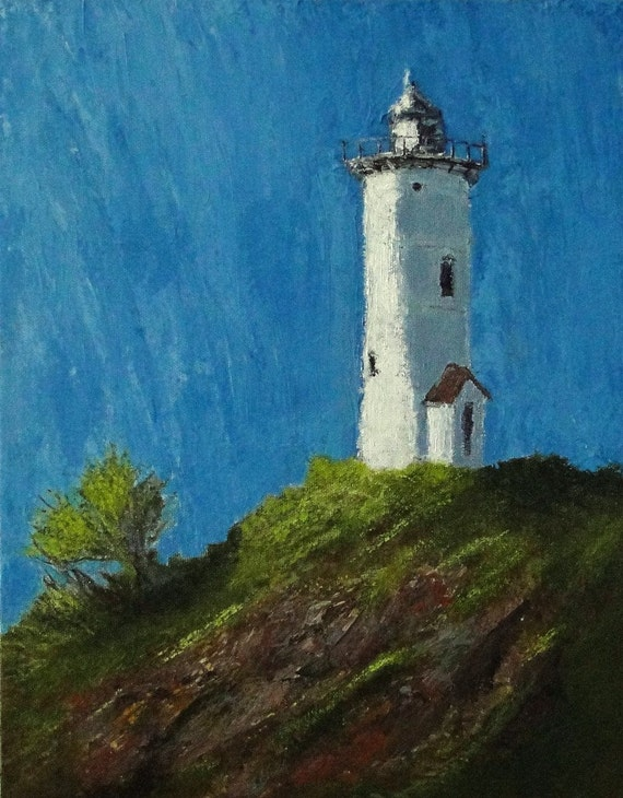 Lighthouse On Hill Orignal Acrylic (11x14) Painting by Paul Piasecki