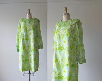 vintage 1960s party dress / 60s dress / Lime Chiffon