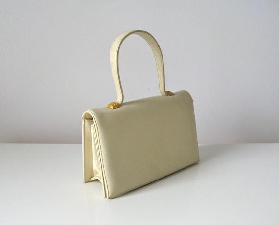 vintage 1960s handbag / 60s mod purse / ivory handbag