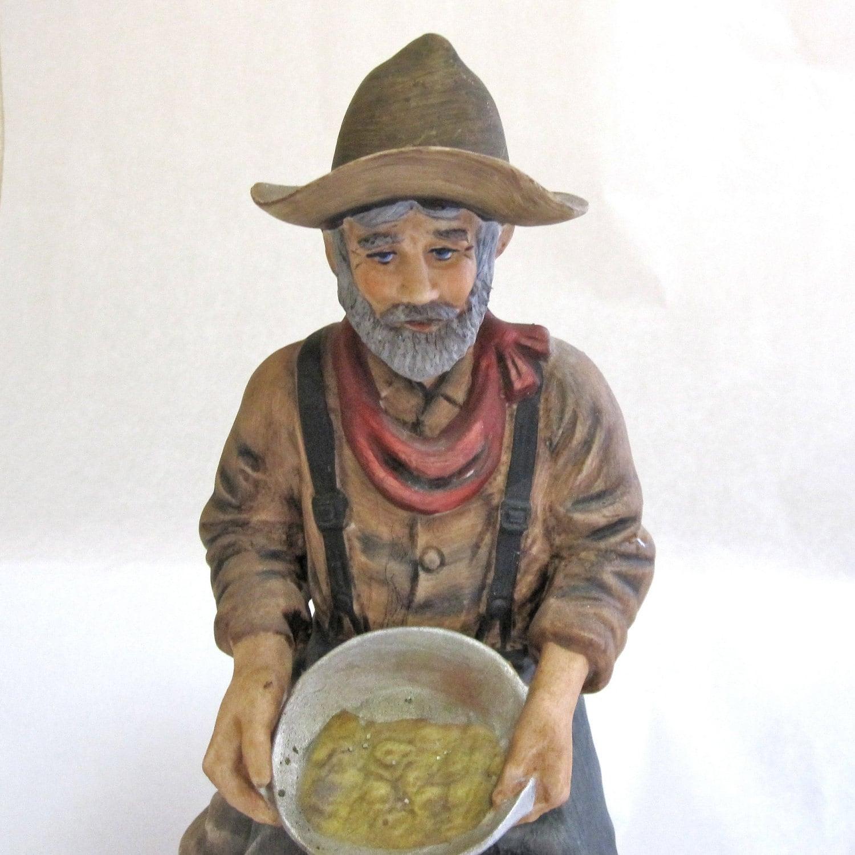 wild west bottle gold miner lionstone whiskey bottle ceramic