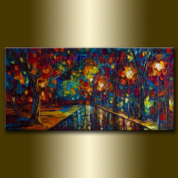 Original Textured Palette Knife Landscape Painting Oil on Canvas Contemporary Modern Art Rainy Night 18X36 by Willson Lau