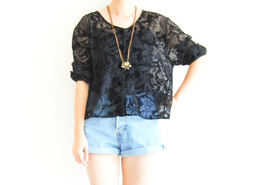 Vintage Black Velvet Sheer Floral Button Up Blouse
