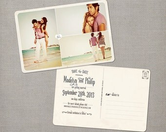 "Save the Date Cards, Save the Date Postcard, Vintage Save the Date Card  - the ""Madelyn 4"""