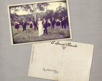 """Wedding thank you Cards, Personalized Postcards, Vintage - the """"Rachelle"""""""