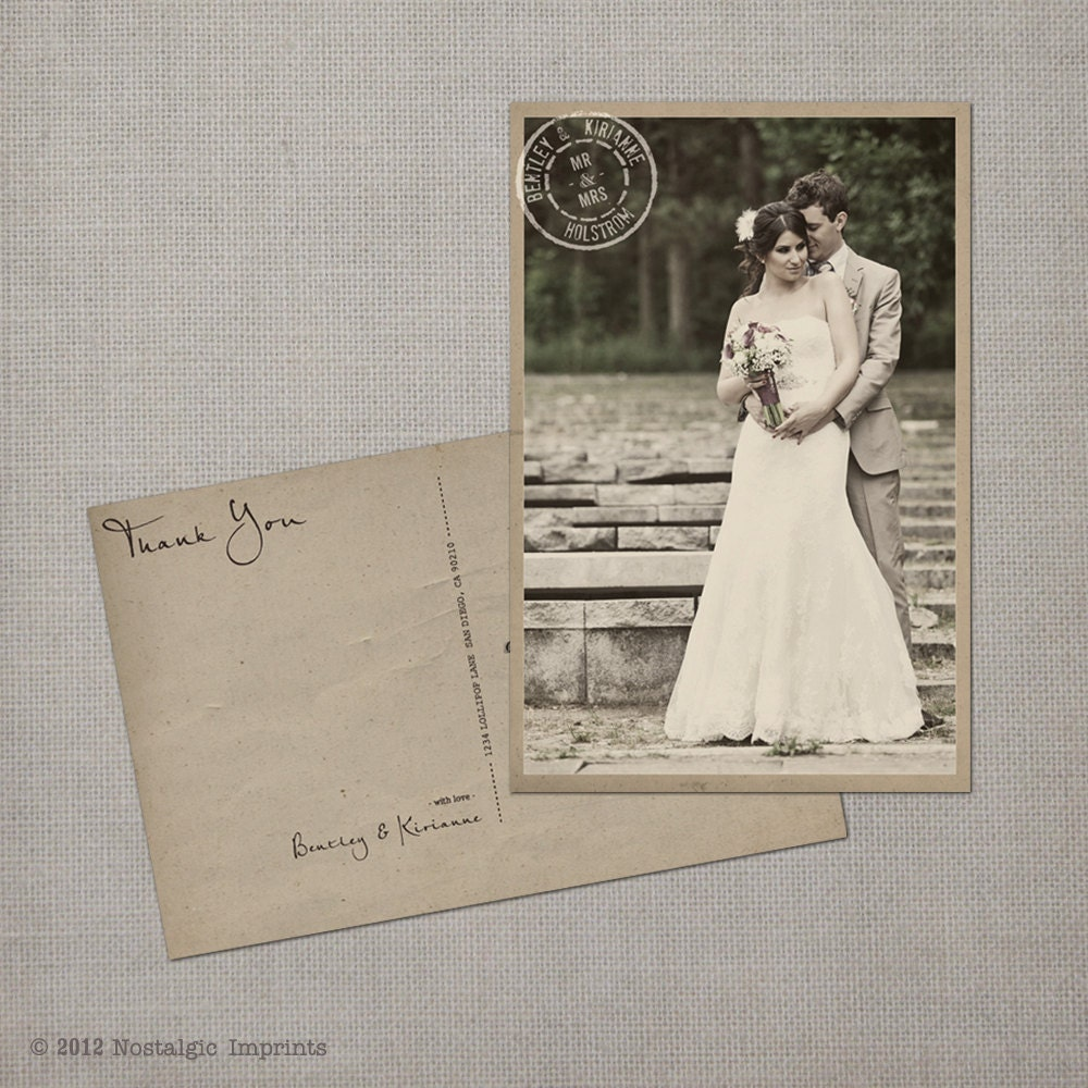 Wedding Thank You Postcards: Wedding Thank You Cards / Thank You Note By NostalgicImprints