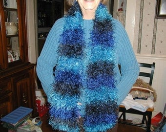 Blue Ombre Handknit Scarf - Just in Time for Cold Weather
