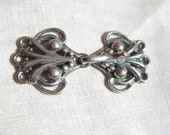 STERLING CLASP for Jewelry, Sweaters, Off Center Jacket Closure, Holds 3 strands of Pearls Beautiful Art Nouveau Design NEW