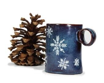 Hand Painted Ceramic Mug Navy Blue Winter Snowflakes Rustic Coffee Mug Minimal Kitchen Decor