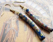 Curved floral blue ceramic bead dangle earrings