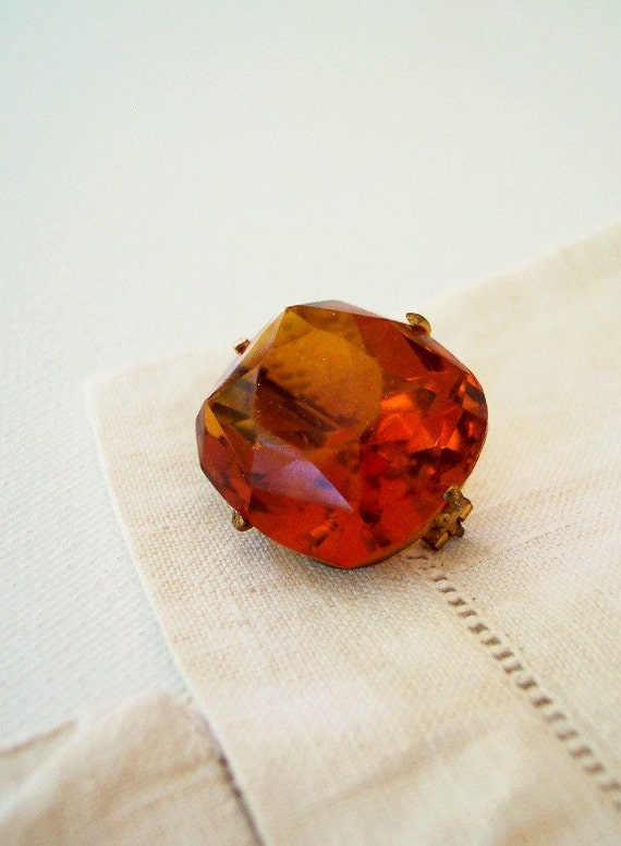 The Amber Gentleman - Antique Victorian Edwardian Brooch with Large Cushion Cut Orange Stone