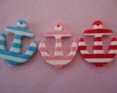 Cute kawaii striped anchor decoden deco diy cabochons  3 pcs---USA seller