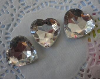 kawaii clear heart acrylic rhinestone decoden deco diy  3 pcs--USA seller