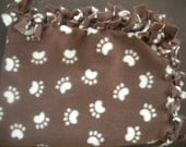 Paw Prints Dog Blanket - Brown and Creme Colored Blanket - Medium Fleece Blanket