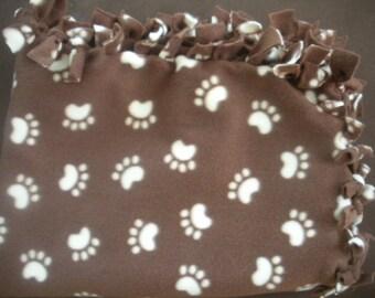 Paw Prints Dog Blanket - Brown and Creme Colored Blanket - Medium Fleece Blanket