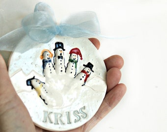 Personalized Baby Ornament - Custom Baby Ornament - First Christmas Ornament - Baby Handprint Ornament - Hand Print Snowman to 24 months -