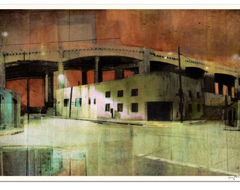 """DOUBLE BYPASS - Cityscape Art Lithograph - 15 x 22"""" - Signed by the artist"""