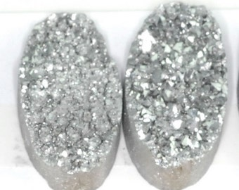 Huge 4 Pieces Silver Oval Calibrated Druzy Agate Cabochon 29x14mm Wholesale B35DR4392