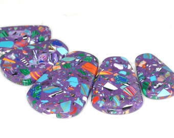 Stunning 5 pieces Purple Mosaic pendant bead Set J35B4099