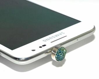 1 Piece Sparkling Green Druzy iPhone Earphone Plug Dust Plug Decoration B41DR2478