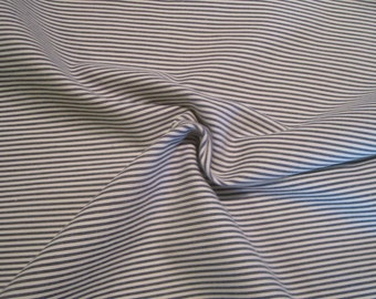 Navy and Ivory Stripe Stretch Cotton Cord Fabric--One Yard