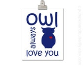 Valentine Print, Owl Print, Children's Art Print, Love Print, Kids Wall Art, Kids Art and Decor, Navy Blue, Red, Owl Always Love You