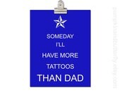 Kids Wall Art, Nursery Art, Children's Art Print Poster, Boys Nursery Print, Nautical Star, Tattoo, Someday I'll Have More Tattoos Than Dad