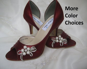 Wedding Shoes Apple Red Shoes Pearl and Crystal Bow -100 Additional Colors To Pick From