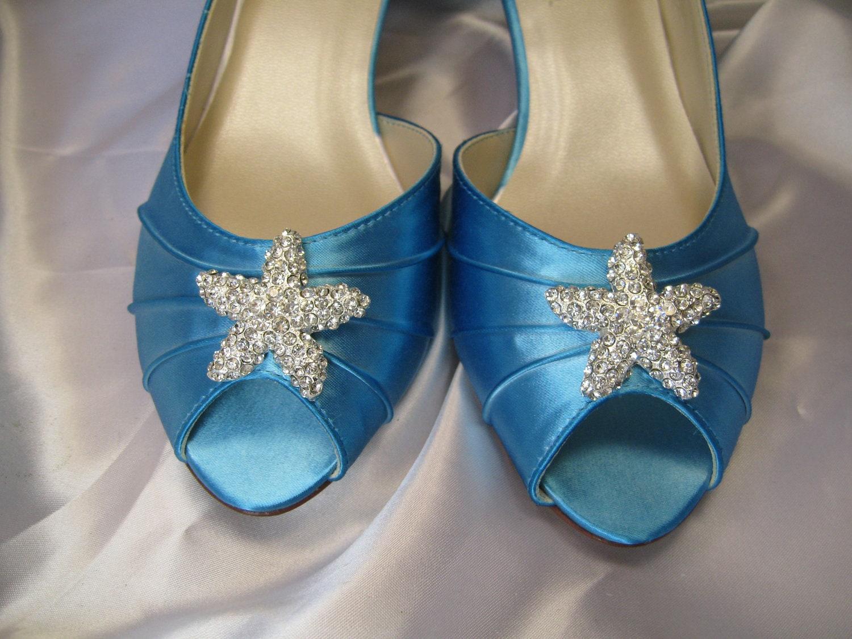 Blue Wedding Shoes With Crystal Starfish Beach Wedding Bridal
