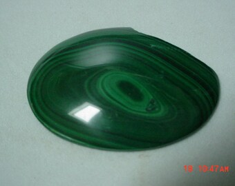30 x 40 mm Oval Deep Green Banded  Malachite Cabochon Cab Chipped