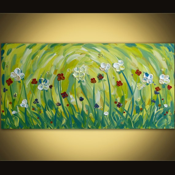 Original acrylic flower painting on canvas huge Modern abstract contemporary art SALE