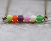 Circus Multi Colored Bar Necklace Petite Frosted Beads Vintage Brass