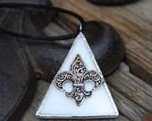 Fleur de Lis Jewelry Fleur de Lis Necklace Stained Glass Jewelry (1226)