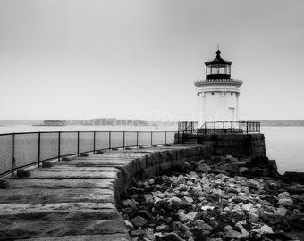 Nautical Black and White Maine Lighthouse 8x10 Photograph Print