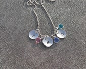 Personalized Initial Necklace Sterling Silver Pendants Hand Stamped  with Swarovski Crystal Birthstones  - Gifts for Her