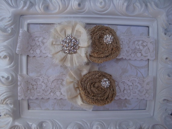Wedding Garter - Rustic Wedding - Wedding Bridal Garter -Burlap and Ivory Rosette Garter and Toss Garter Set