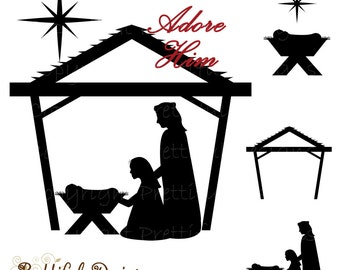 Nativity Silhouette Clip Art Christmas Clipart for Commercial Use