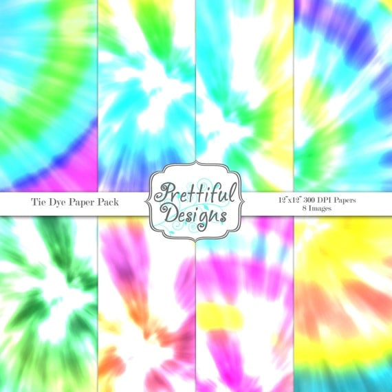 Tie Dye Digital Paper Pack for Personal or Commercial Use