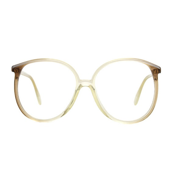 Silhouette big vintage Eyeglasses - transparent / pearly white with brown