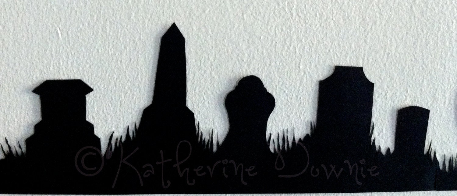 weeping angels with tardis in a cemetery silhouettes